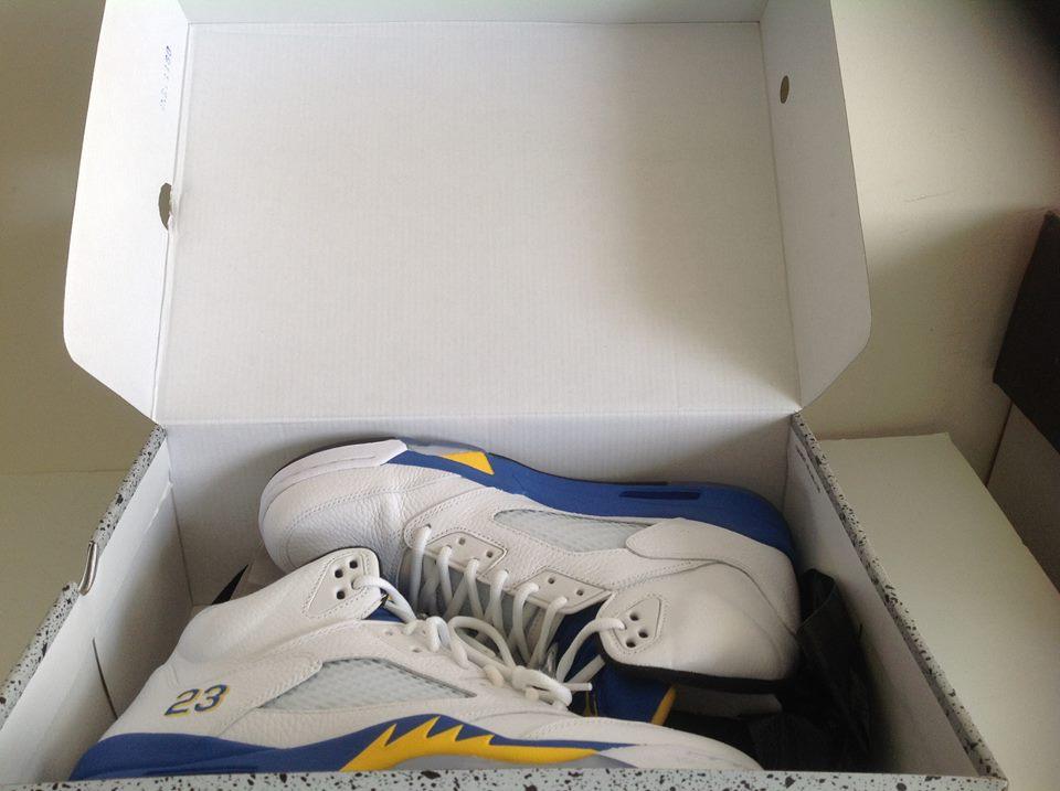 49a550e9f09 Air Jordan 5 V Retro Laney White blue Yellow 136027 189 7 – Housakicks
