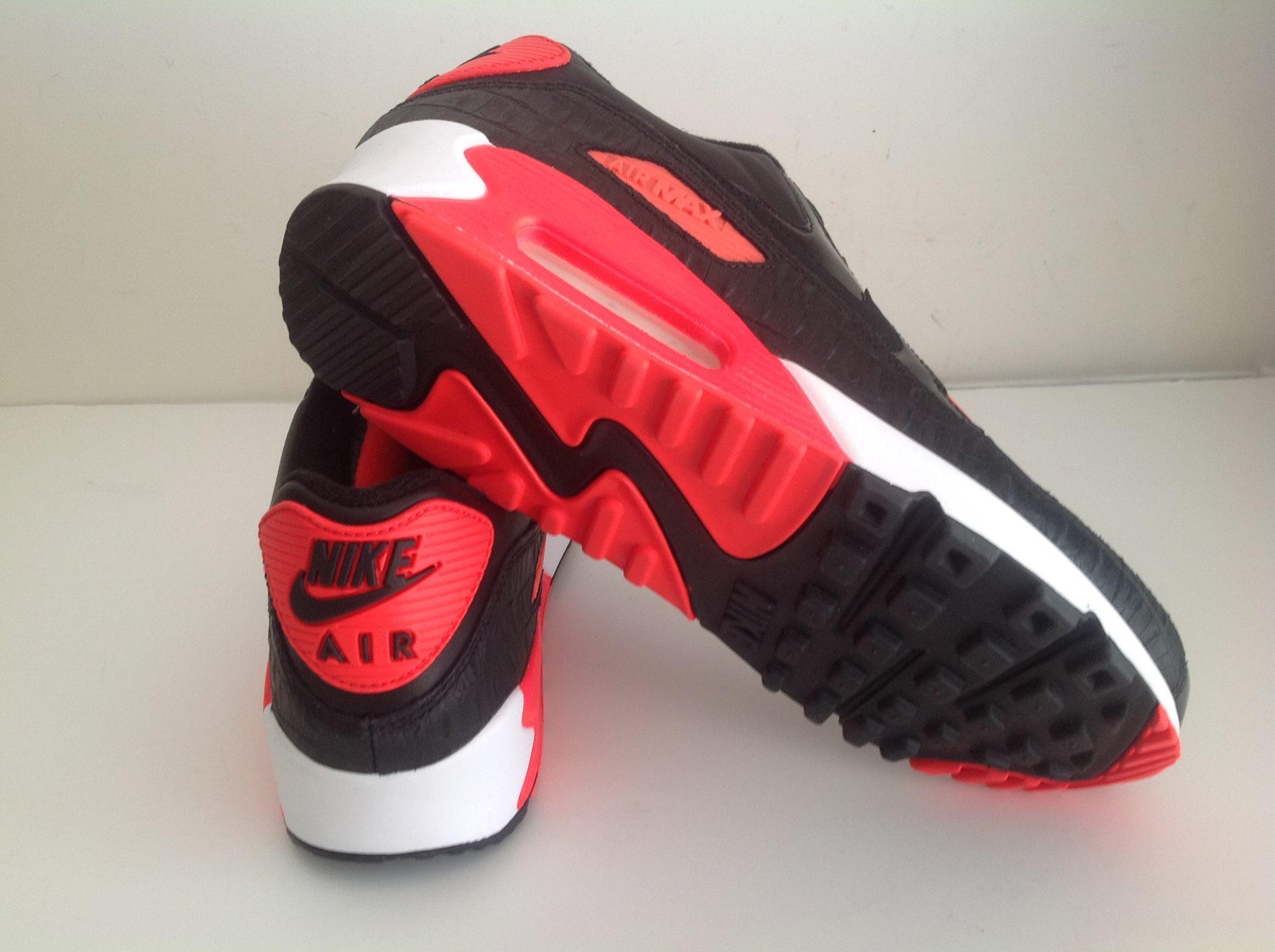 the latest d9fb5 52720 Nike Air Max 90 25h anniversary black Croc Infrared White 725235 006 4
