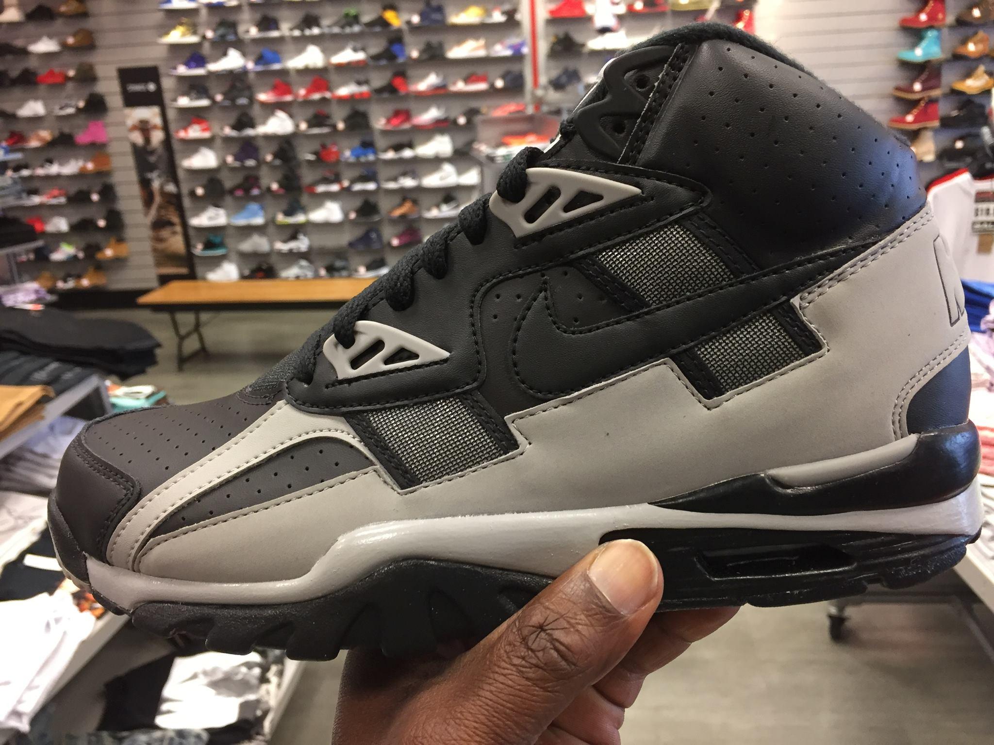 The Nike Air Trainer SC High Black Grey Raiders 302346-013