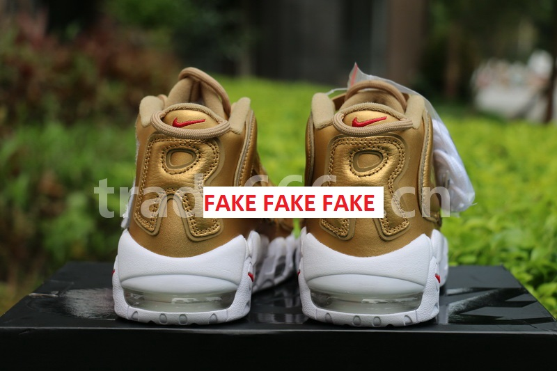 ee87b606fbf Fake Supreme Nike Air More Uptempo Gold Spotted-No Shoe is Safe ...