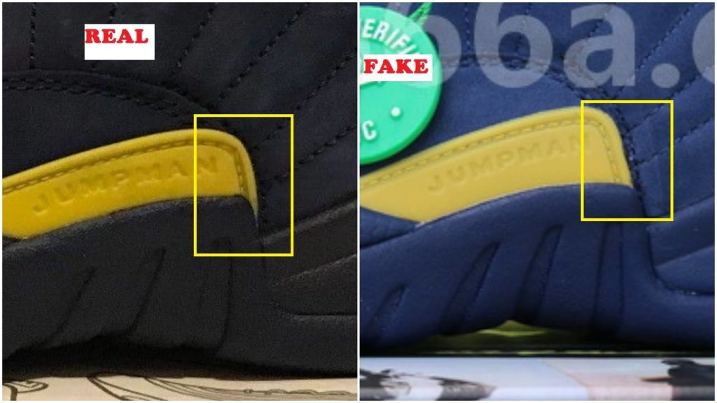 4014a439276 Fake Air Jordan 12 Michigan Spotted-Quick Ways To Spot It – Housakicks