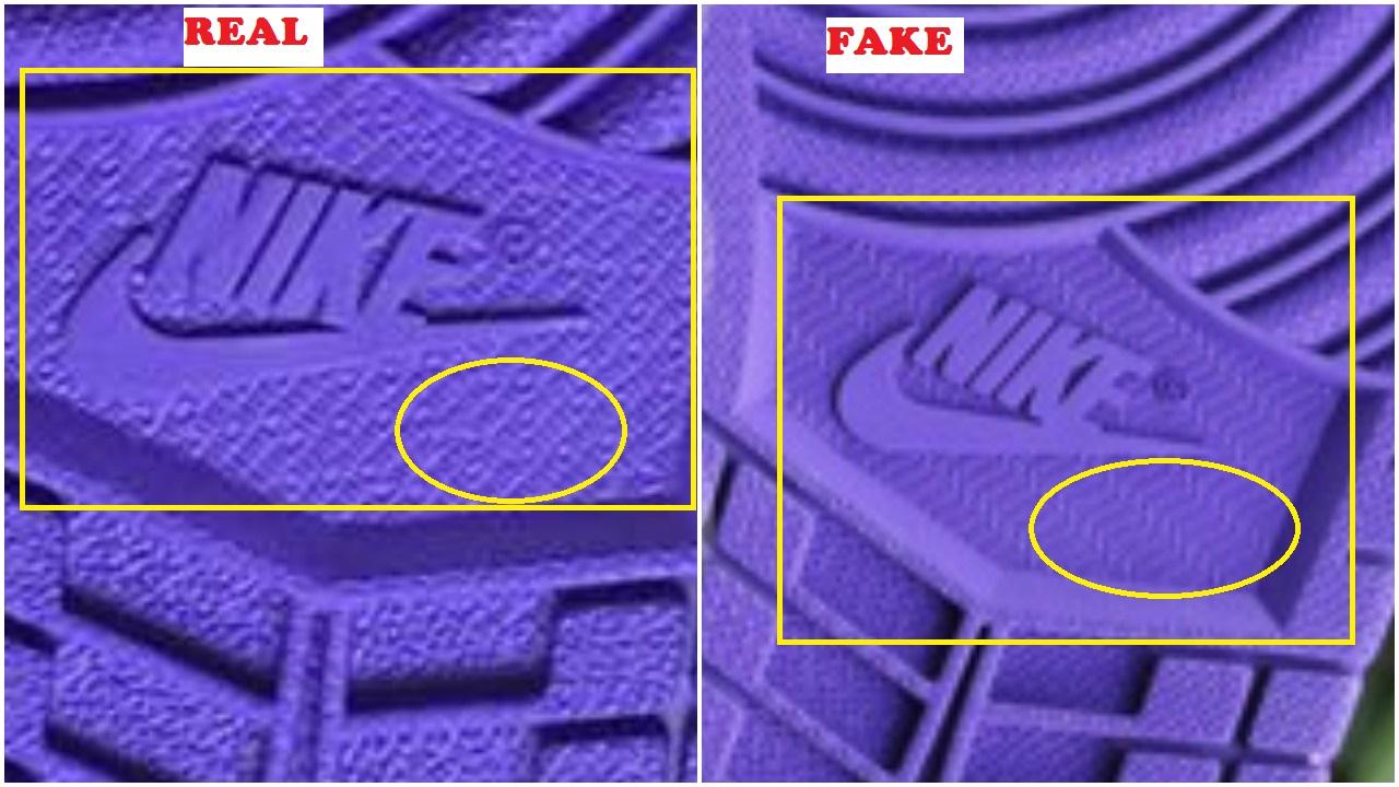 b920b303115 Fake Air Jordan 1 Court Purple Spotted- Quick Ways To Identify It ...