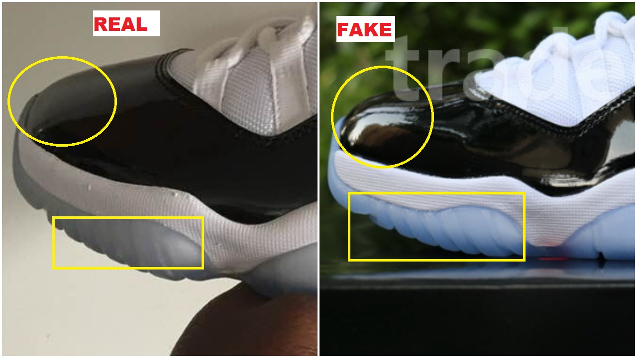 2aff042880dc The toe box of the fake pair is very bulky as you can see in the picture  above. It almost rises up near the front. Another obvious nuance between  the two ...