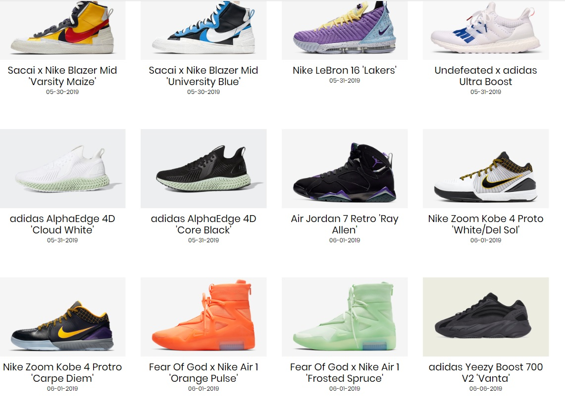 saturday sneaker release calendar