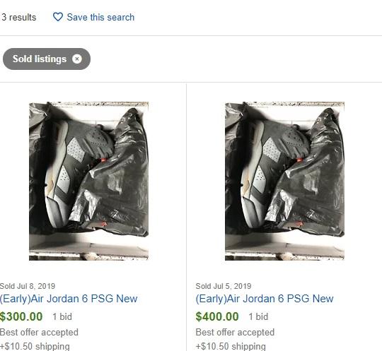air jordan 6 psg sales record ebay
