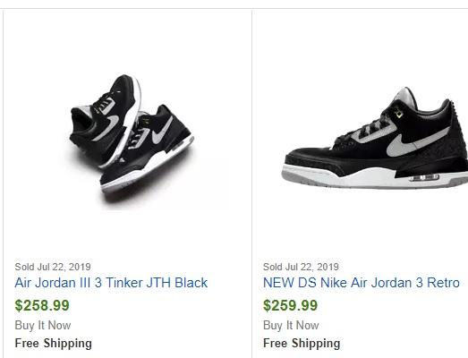 air jordan 3 tinker black cement ebay sales records