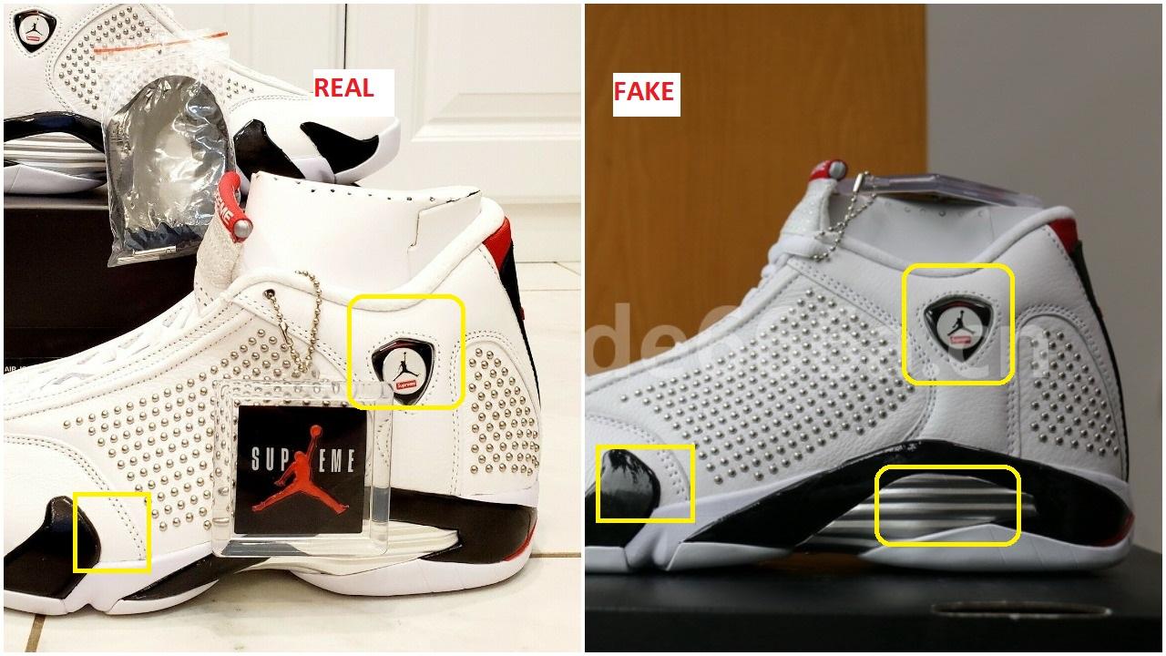 best sneakers dec9b 7f634 Quick Ways To Identify The Fake White Supreme Air Jordan 14 ...