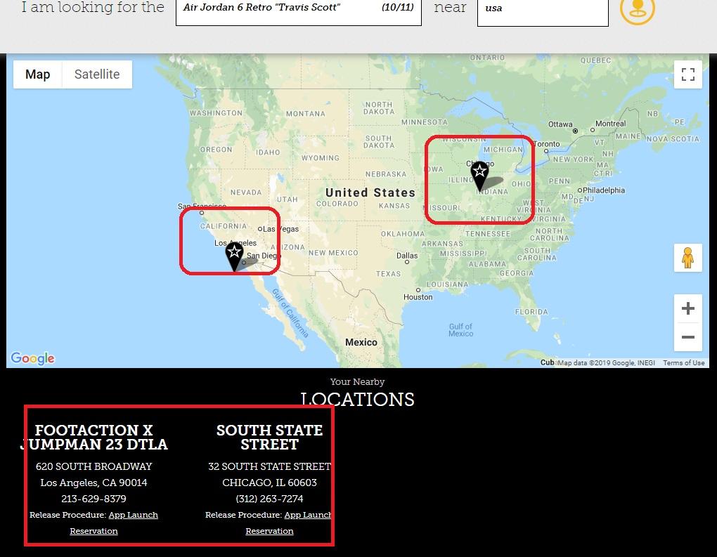 air jordan 6 travis scott footaction release map