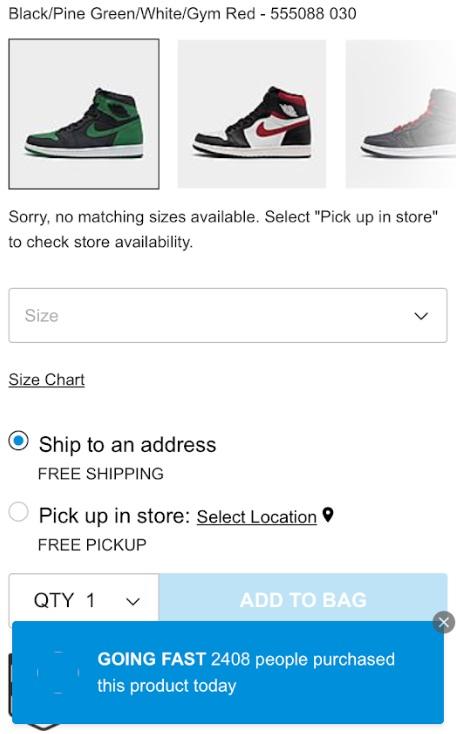 Air jordan 1 pine green number of pairs sold via Finishline online