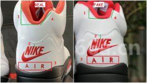 real vs fake air jordan 5 fire red