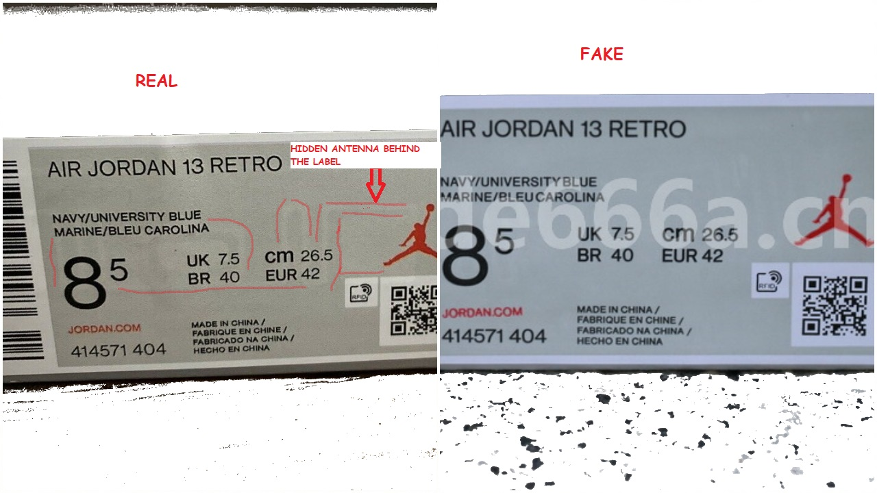 Real Vs Fake Air Jordan 13 Flint box label