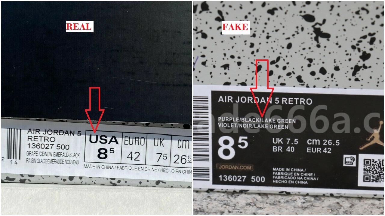 Real vs fake jordan 5 alternate grape box label