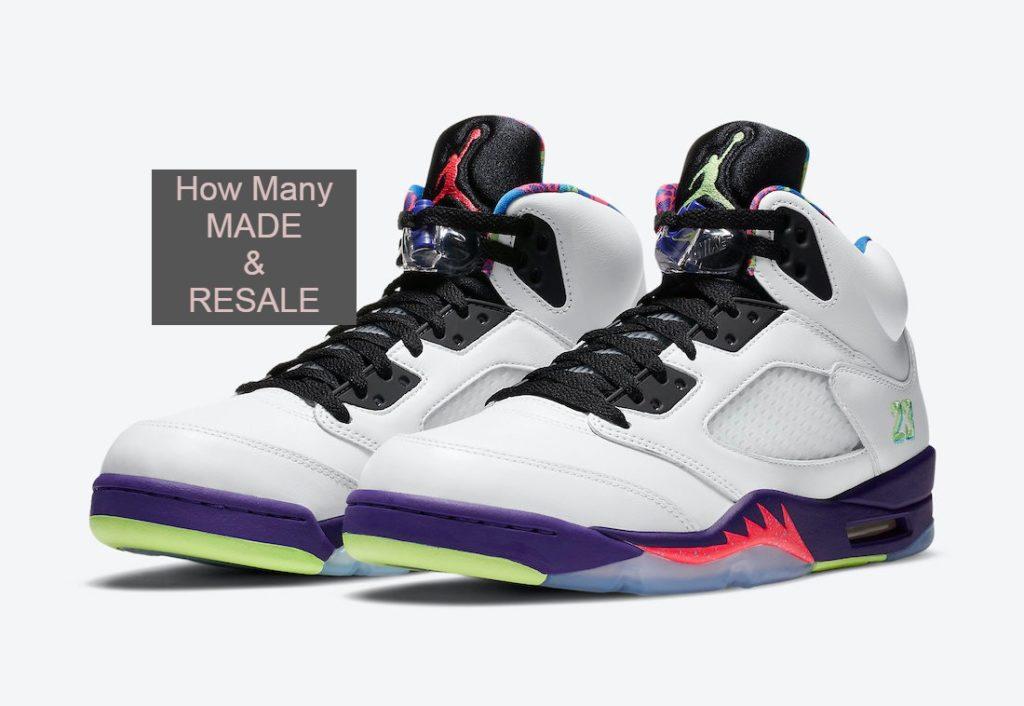 Air-Jordan-5-alternate bel air DB3335-100 How many pairs made & resale value