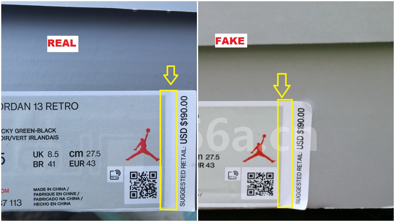Real Vs Fake Air Jordan 13 Lucky Green 14