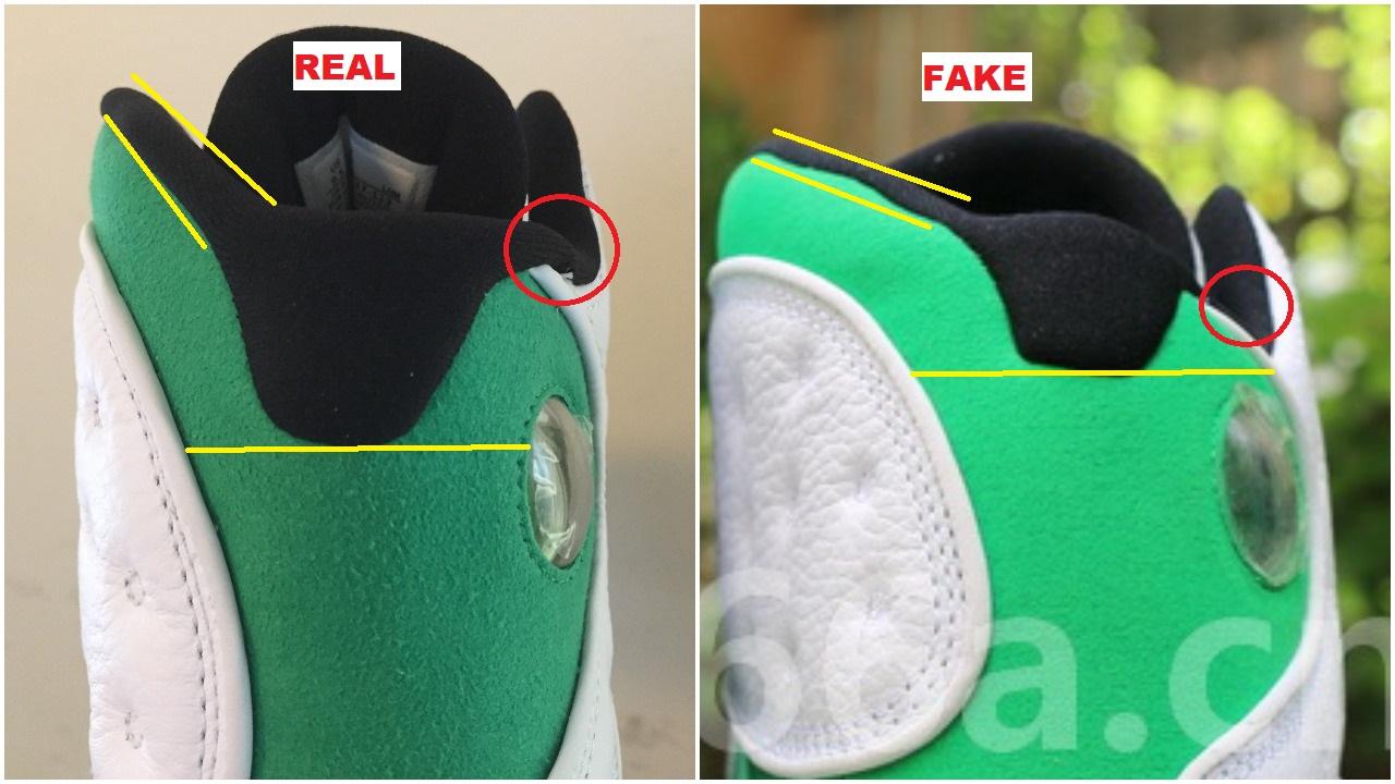 Real Vs Fake Air Jordan 13 Lucky Green 6