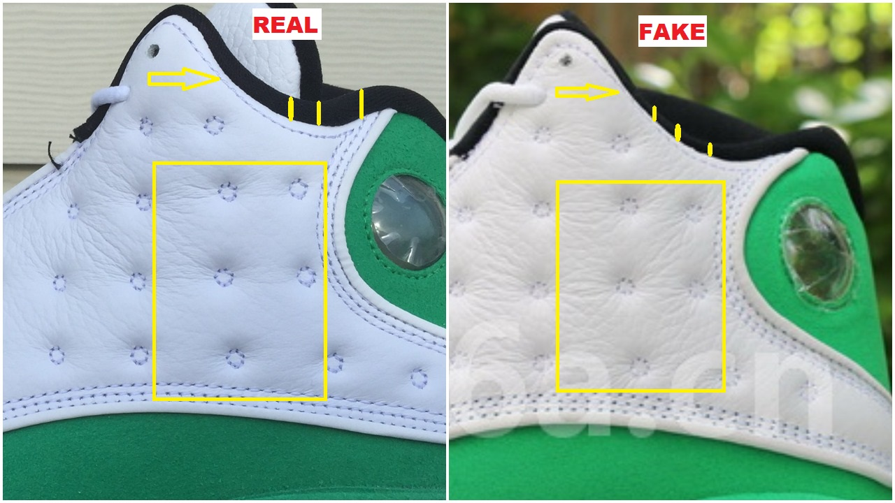 Real Vs Fake Air Jordan 13 Lucky Green