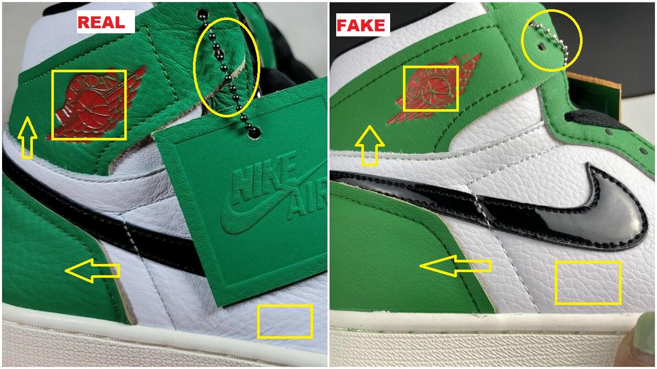 How to spot the fake air jordan 1 lucky green 1