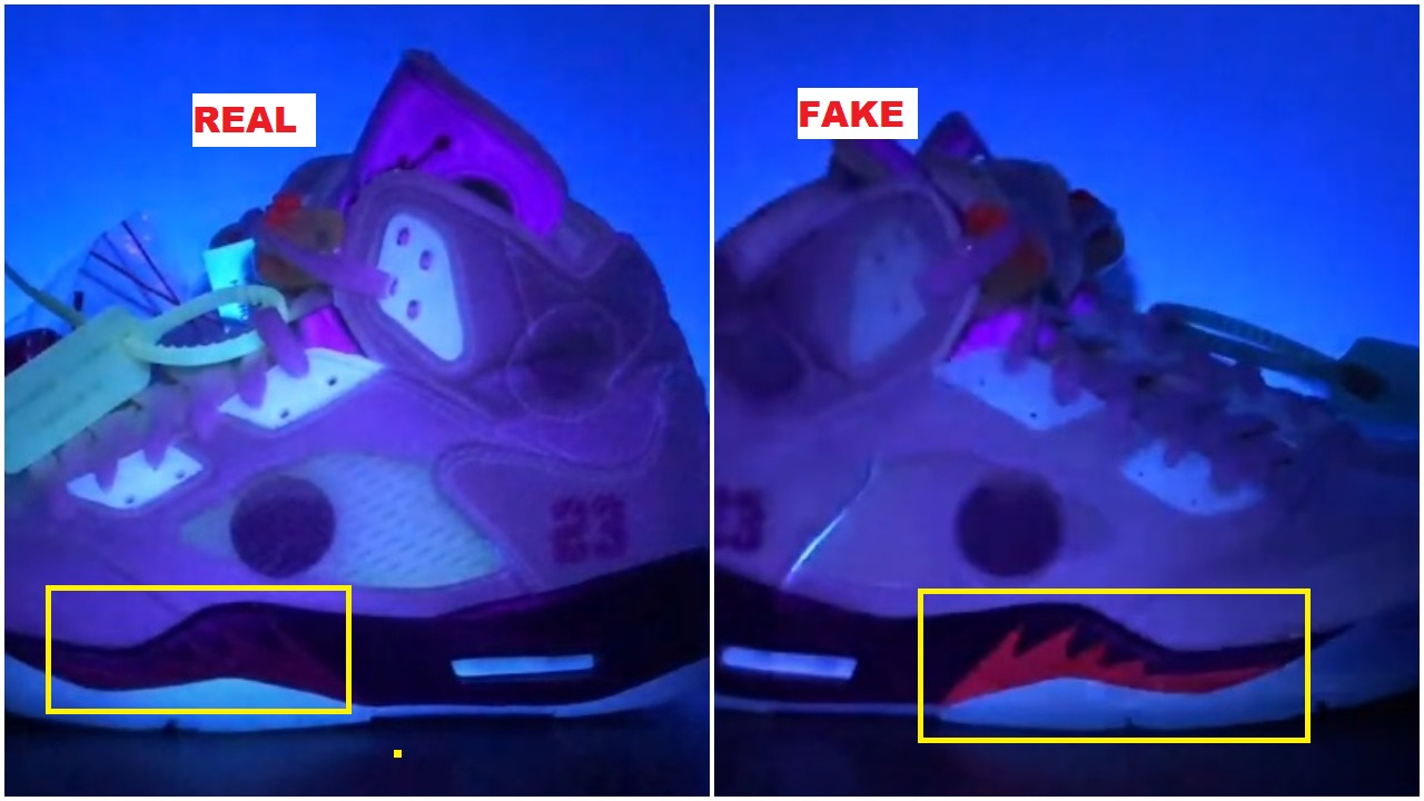 Real vs fake off white air jordan 5 sail fire red 11