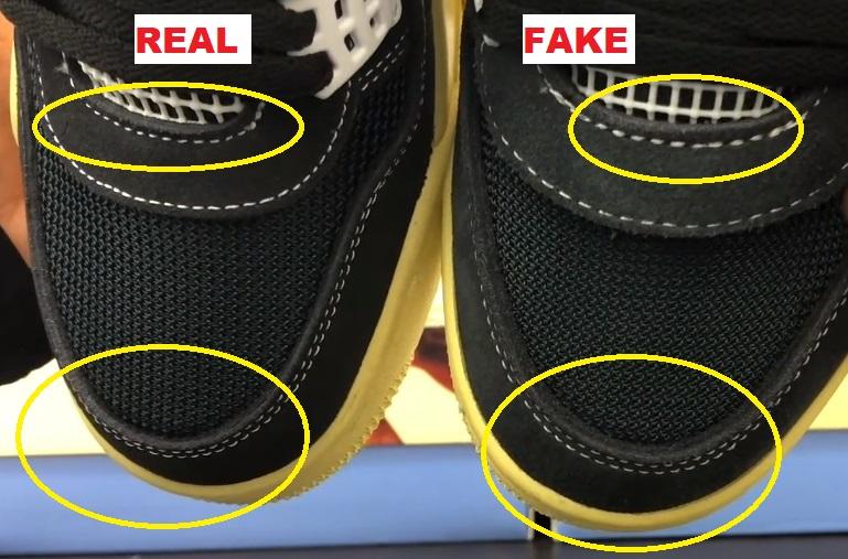 real vs fake air jordan 4 union off noir