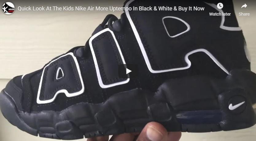 Kids Nike Air More Uptempo Black White 415082-002