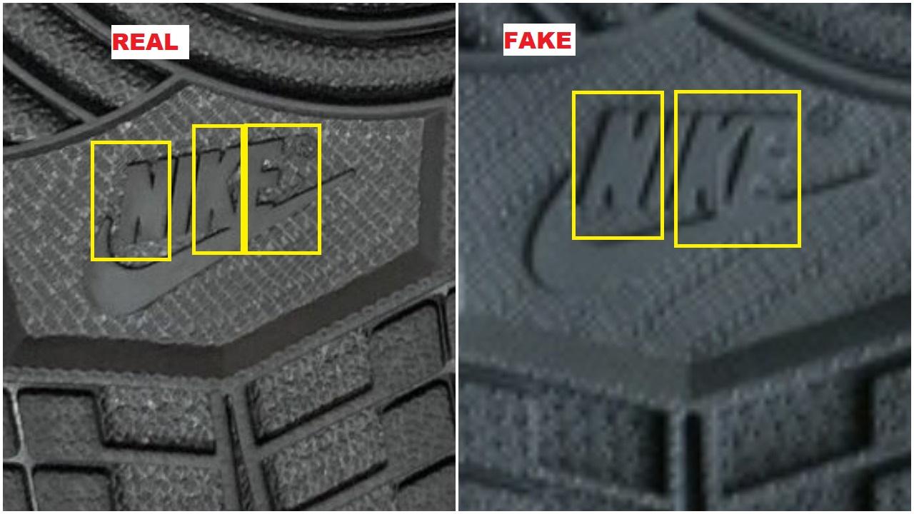 Real Vs Fake Air Jordan 1 Black Metallic Gold -outsole