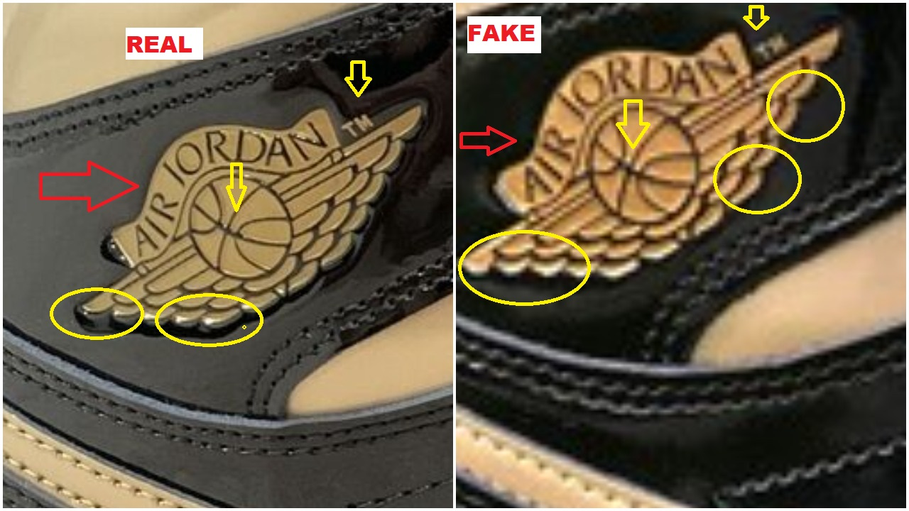 Real Vs Fake Air Jordan 1 Black Metallic Gold wings logo