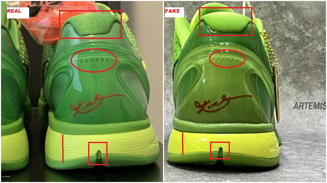 Real Vs Fake Nike Kobe 6 Grinch 3