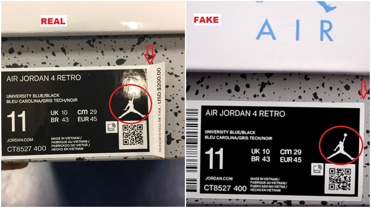 Real vs fake air jordan 4 unc university blue 7
