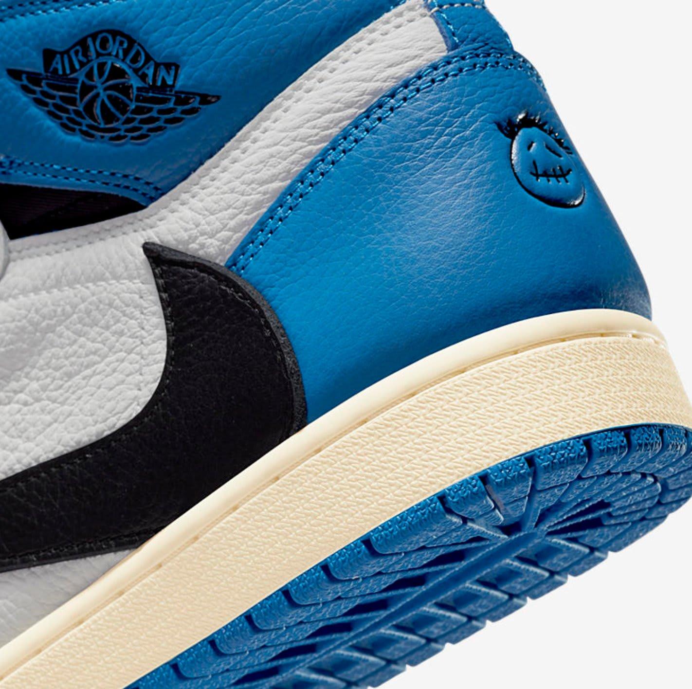 Travis Scott Fragment Air Jordan 1 DH3227-105 heel view
