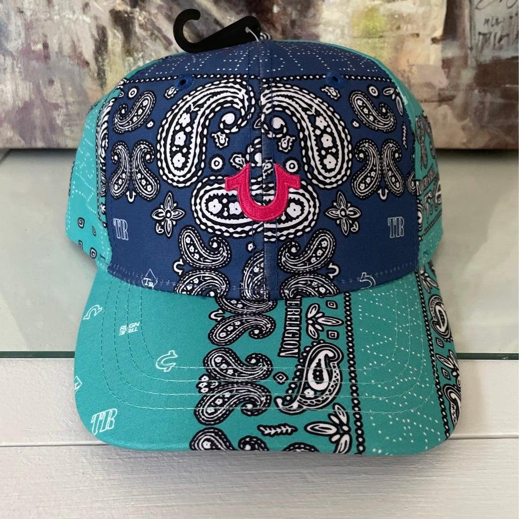 True Religion Color Block Paisley Cap Hat