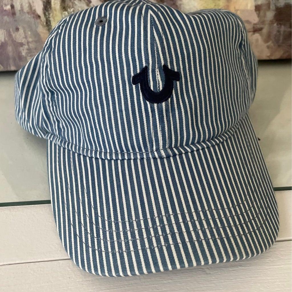 True Religion Indigo striped baseball cap hat